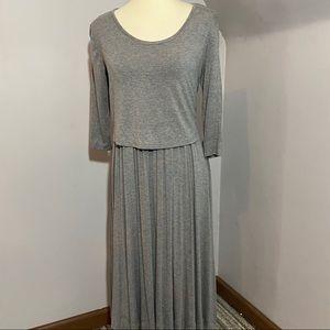Madeleine gray A line swing pleated dress NWT